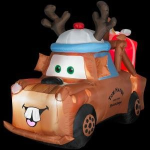 Christmas Holiday Airblown Inflatable - Cars 5 ft. Lighted Mater with Reindeer Hat and Present