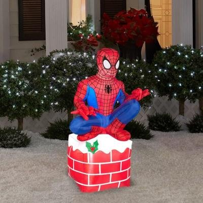 Christmas Airblown Inflatable - Holiday Spider-Man Sitting on Chimney