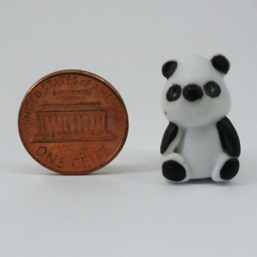 PANDA MINIATURE DOLLHOUSE CERAMIC 100% HANDMADE HANDCRAFT BEAR FIGURINE FN