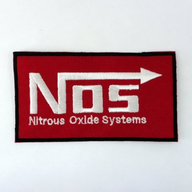 NOS IRON ON PATCHES NITROUS OXIDE SYSTEMS EMBROIDERED LOGO RACING SPORTS SEW FN