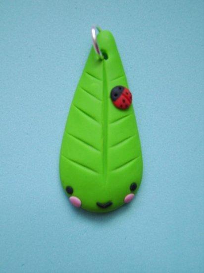 sweet leaf charm (polymer clay)