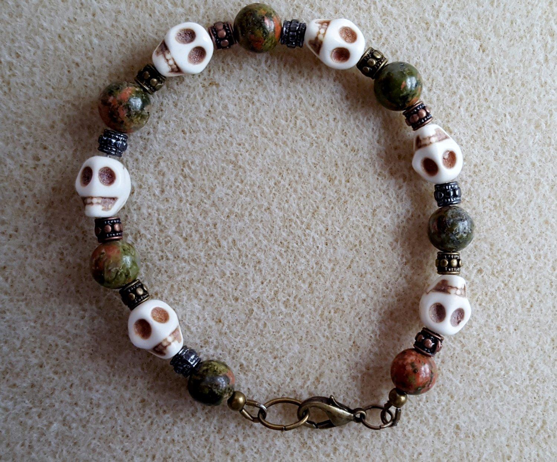 Unakite and Skulls Bracelet