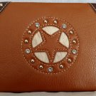 Brown Star Leather Style Cowgirl Crystal Wallet and Checkbook Holder