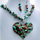 Chunky Turquoise Western Heart Semiprecious Necklace Set