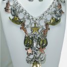 Western Tritone Charm Statement Necklace Set