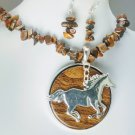 Chunky Brown Western Horse Semiprecious Necklace Set