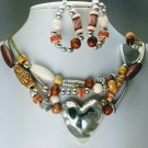 Western Brown Heart Multistrand Necklace Set