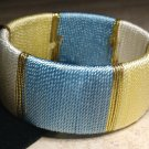 Blue Yellow White Gold Thread Bangle Bracelet