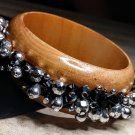 Black Silver Metallic Bead Wood Bangle Bracelet