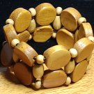 Brown Natural Layered Wood Bead Bracelet
