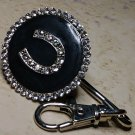 Black Western Horseshoe Crystal Keychain Finder