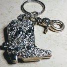 Western Cowgirl Crystal Boots Keychain