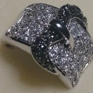 Two Tone Belt Buckle 18KGE Zirconia Ring Size 8