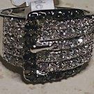 Two Tone Belt Buckle 18KGE Zirconia Ring Size 6