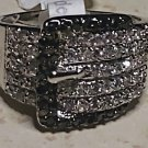 Two Tone Belt Buckle 18KGE Zirconia Ring Size 7