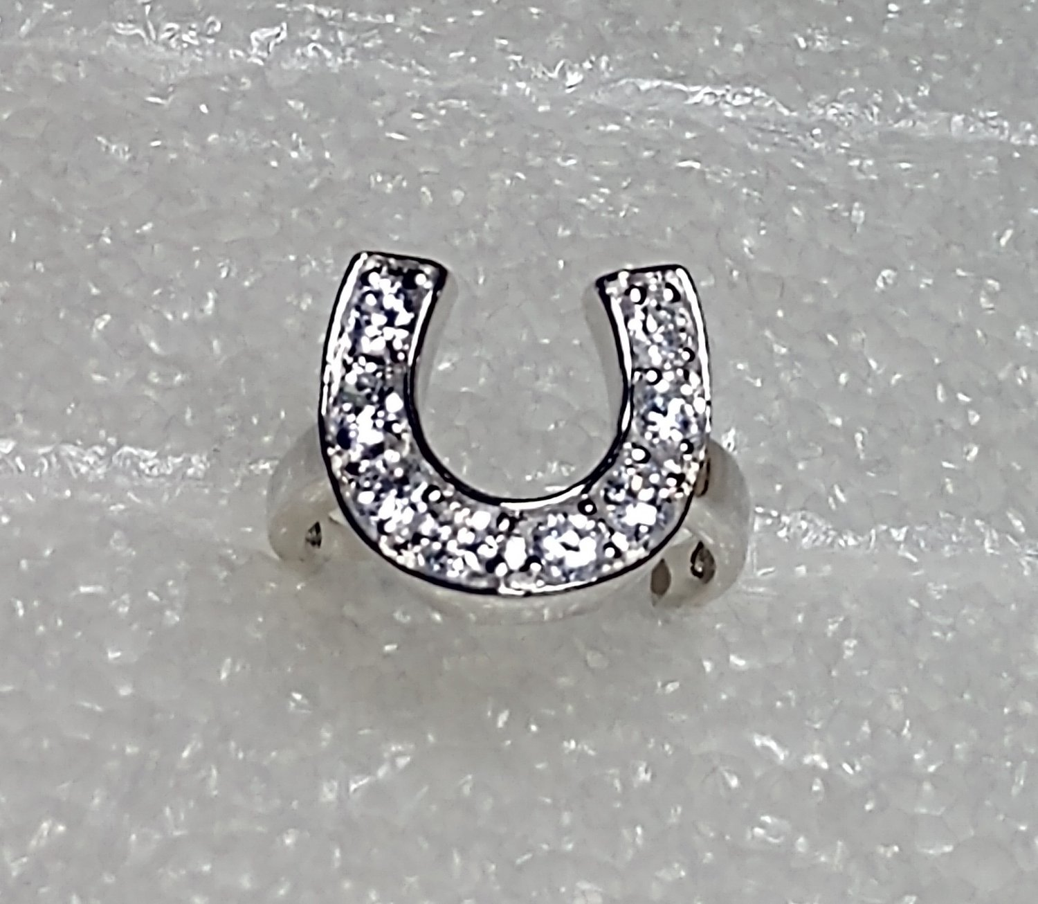 Horseshoe 925 Sterling Silver Crystal Ring Size 9