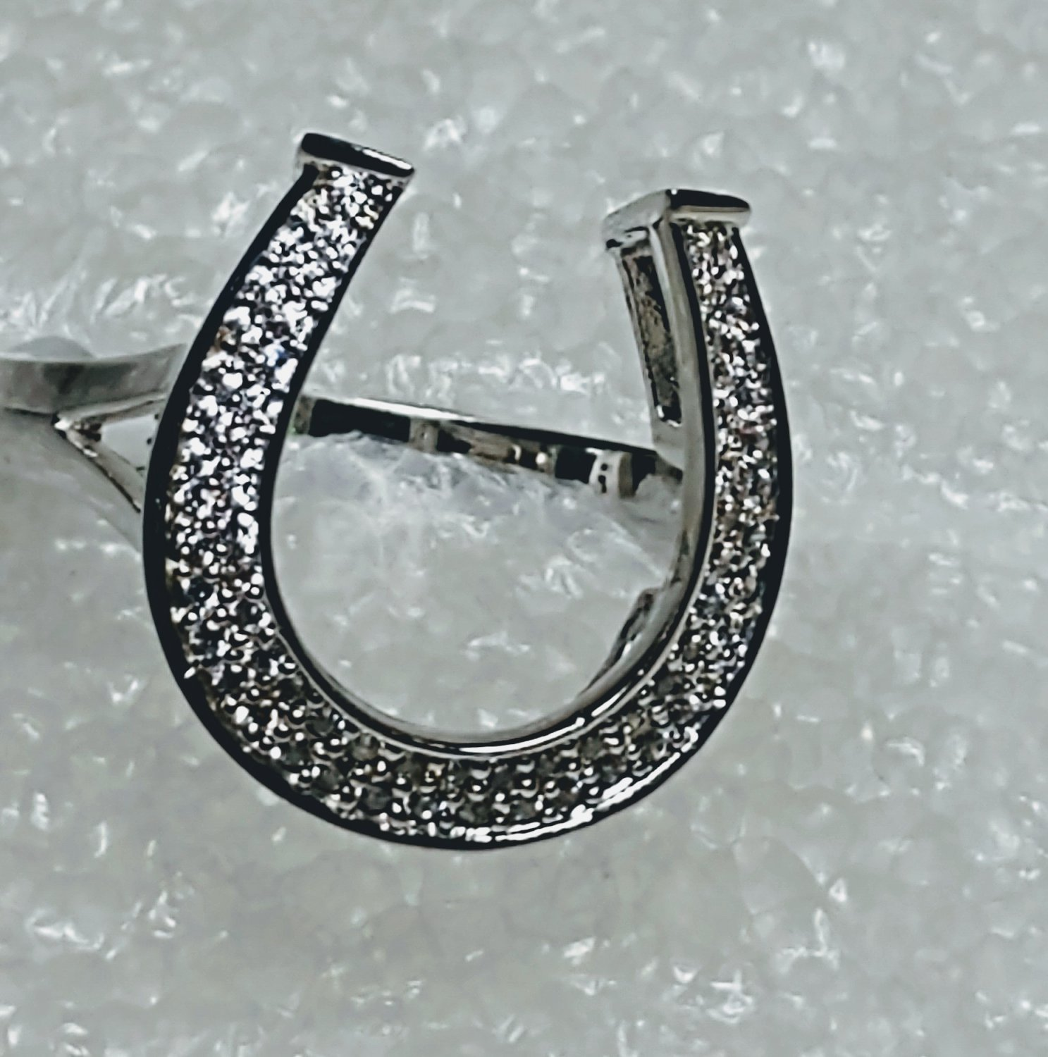 Horseshoe 925 Sterling Silver Cubic Zirconia Ring Size 8