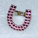 Pink Chunky Horseshoe Crystal Ring Size 9