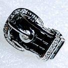 Black Belt Buckle 18KGP Zirconia Ring Size 6