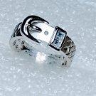 Belt Buckle Cubic Zirconia Ring Size 6