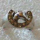 Western Horseshoe Horse Crystal Ring Size 6