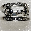 Western Stirrups Crystal Ring Size 6