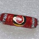 Salmon Gold Horseshoe Cubic Zirconia Ring Size 5