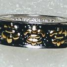 French Fleur De Lis Black Ring Size 6