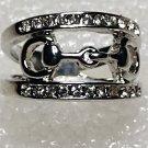 Western Stirrups Crystal Ring Size 9
