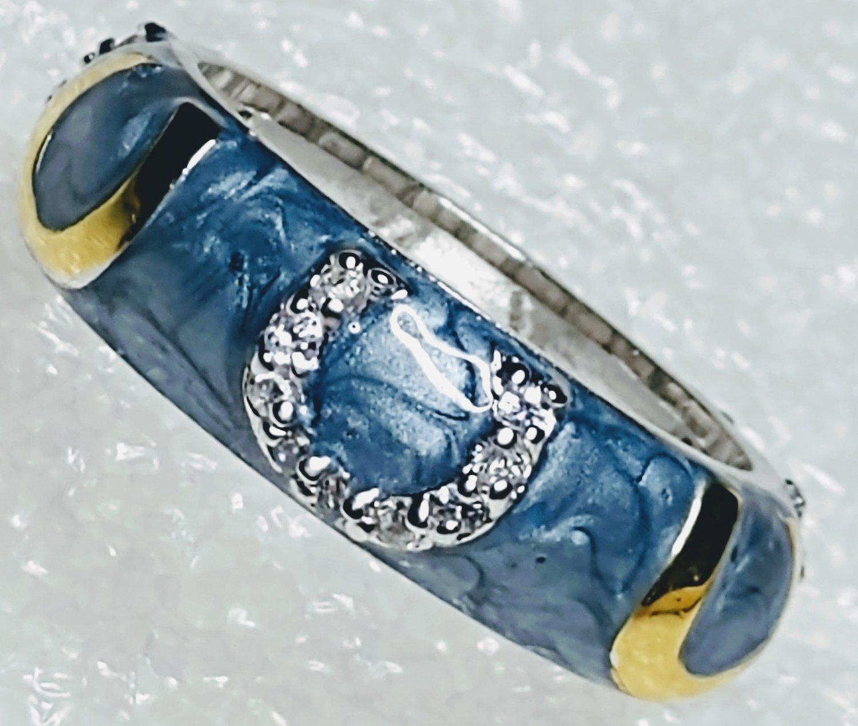 Blue Gold Horseshoe Cubic Zirconia Ring Size 9