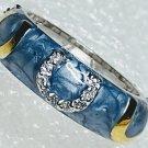 Blue Gold Horseshoe Cubic Zirconia Ring Size 6