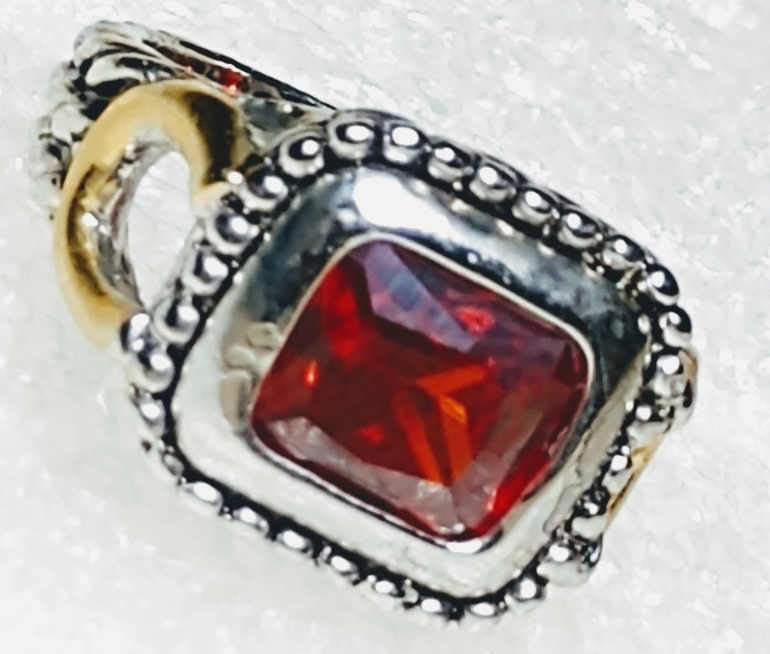 Red Western Horseshoe Crystal Ring Size 6