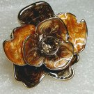 Chunky Brown Flower Crystal Ring