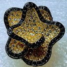 Chunky Black Gold Crystal Flower Crystal Ring Size 8
