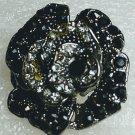 Chunky Black Flower Crystal Ring