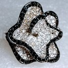 Chunky Black Silver Crystal Flower Crystal Ring Size