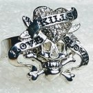 Skull and Crossbones Pirate Love Kills Slowly Crystal Ring