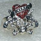 Red Skull and Crossbones Pirate Love Kills Slowly Crystal Ring