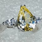 Yellow 925 Sterling Silver Ring Size 9