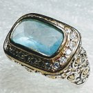 Chunky Blue 925 Sterling Silver Ring Size 6