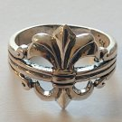 French Fleur De Lis Sterling Silver Ring Size 8