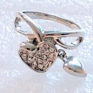 Clear Crystal Heart Ring Size 8