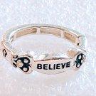 Religious Believe Cross Stretch Ring