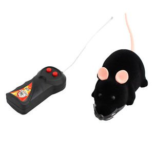 Scary RC Simulation Plush Mouse Toy with Remote Controller Christmas Gift Black