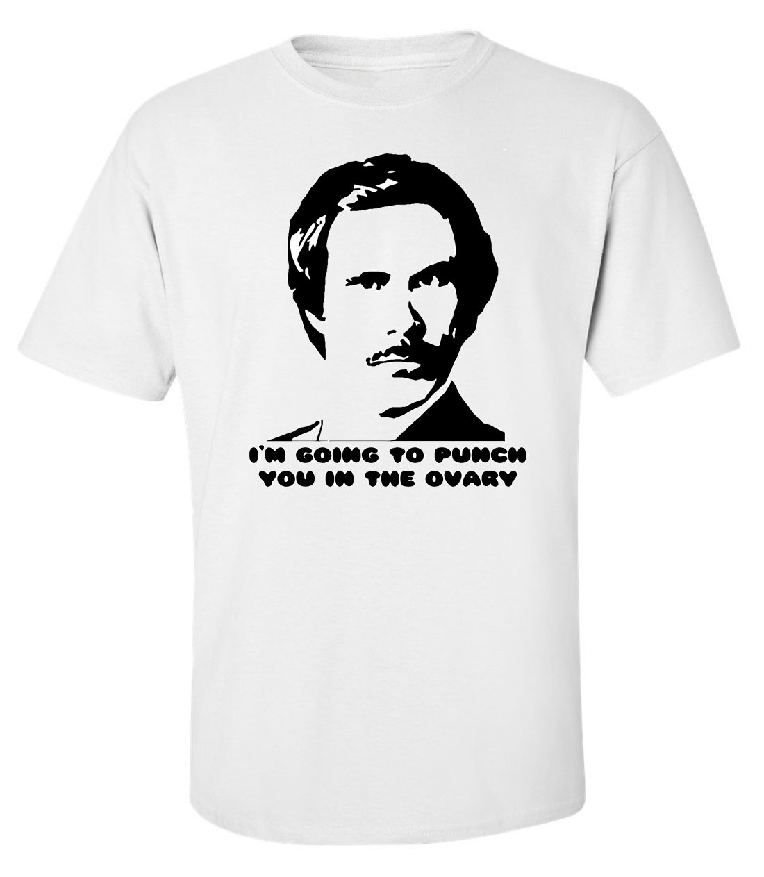 Anchorman stencil funny portrait slogan men printed white t-shirt size L