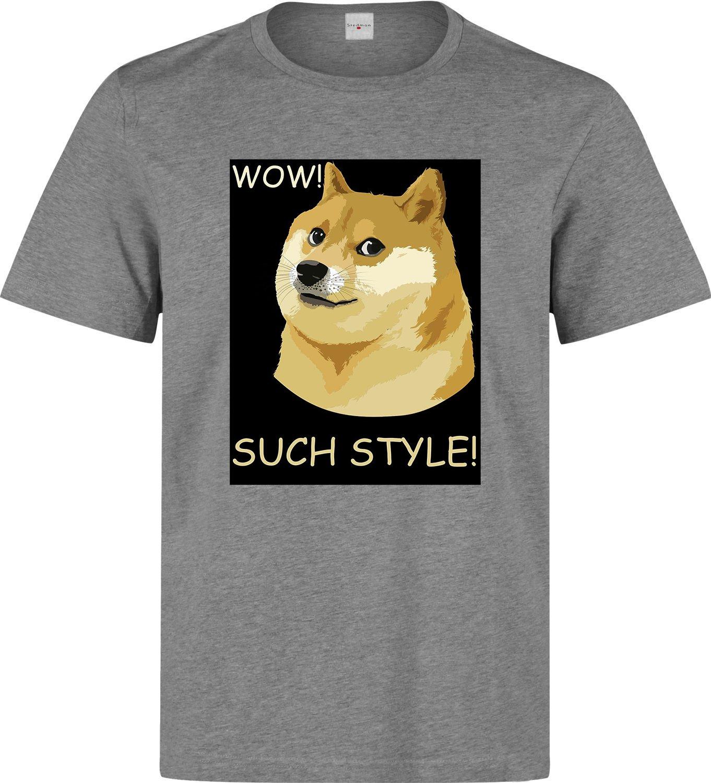 Doge meme funny men printed cotton gray t-shirt size L
