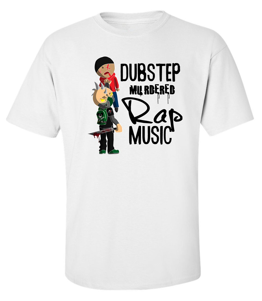 Dubstep murdered rap music men printed white cotton t-shirt size M