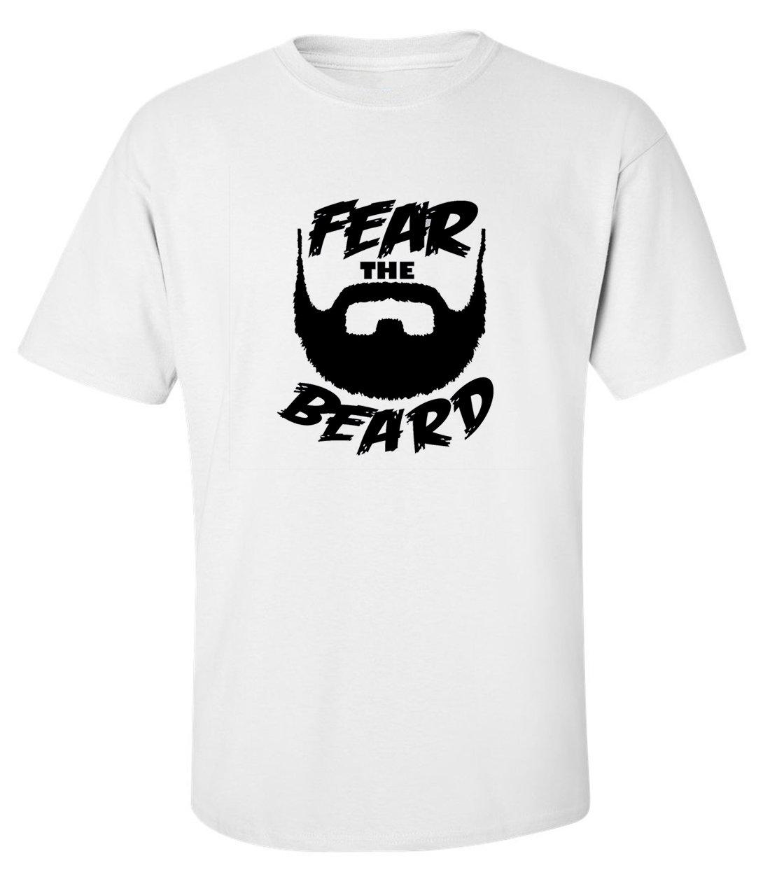 Fear the beard funny slogan men printed cotton white t-shirt size XL