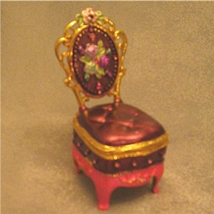 Jeweled Purple Chair Hinged Trinket Jewelry Box