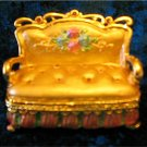 Jeweled Gold Sofa Hinged Trinket Jewelry Box Bejeweled